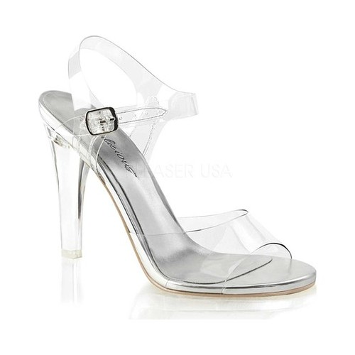 Women's Fabulicious Clearly 408 Ankle-Strap Sandal, Size: 5 M, Clear PVC/Lucite