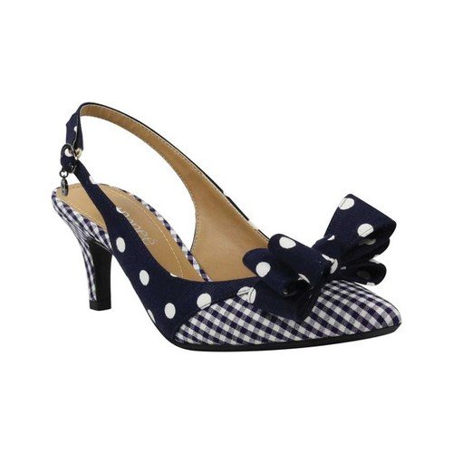 Women's J. Renee Gabino Pointed Toe Slingback, Size: 8.5 M, Navy/White Gingham/Polka Dot Fabric