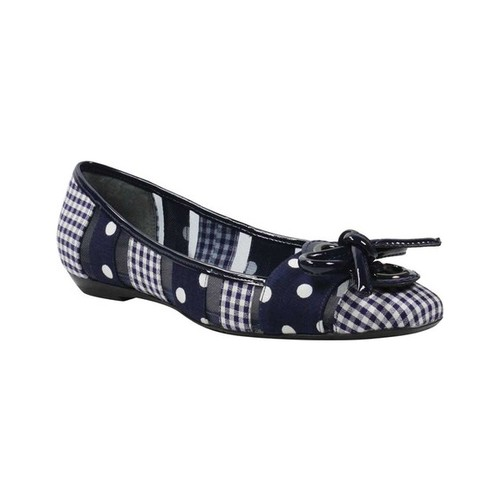 Women's J. Renee Edie Flat, Size: 9.5 M, Navy/White Gingham/Polka Dot Fabric