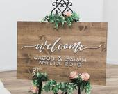 Wedding Welcome Sign, Wedding Sign, Rustic Wood Sign, Wedding Signage, Wedding Name Sign, Established Date Sign, Custom Wedding Sign