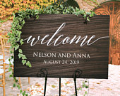 Rustic Wedding Welcome Sign Wood Rustic Wood Wedding Sign Welcome Wedding Signs Wooden Wedding Signs Painted on Canvas Easel Not Included