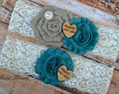 Teal Ivory Tan Burlap Bridal Garter Set Chiffon Fabric Flower Garters Wood Rustic Country Wedding Stretch Lace Plus Size Blue