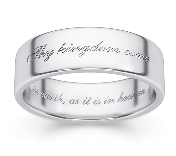 """Sterling Silver """"Thy Kingdom Come"""" Band"""