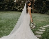 Etsy Cathedral veil bridal Wedding Veil WHite, Ivory, diamond white abusymother veils