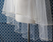 Circle Cut Two Tier Pearl Beaded Edge Wedding Veil w/Silver Accents Pearl Bridal Veils Beaded Veil with Pearls Two Tiers Veil