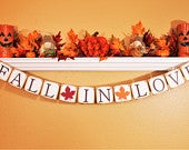 FALL WEDDING BANNERS and Signage, Fall Garland, Save the Date Sign, Fall in Love, Save the Date Fall Banner, Fall Wedding Decoration, Prop