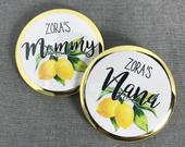 Mommy to be pins Grandma to be Lemon Gender Neutral baby shower favor Lemonade Shower personalized Summer party Pins