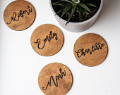 Place Card, Wedding Place Card, Calligraphic Coasters, Wooden Coasters, Custom Coaster, Coaster Place Card, Laser Cut Coaster, Wedding Favor