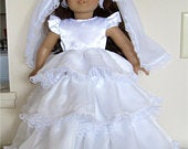 Beautiful White Satiny 3 Tiered Lace Trimmed Wedding Gown Veil Fits American Girl or Similar 18 Doll