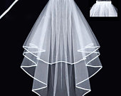 Layered Lace Wedding Veil Bridal with Comb Black or White approx 2.5FT LV0515
