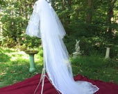 Vintage Wedding Veil White Net Netting and Floral Edge 3 Layers Long Bridal Accessory