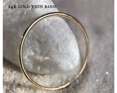 14k SOLID Yellow Gold Ultra Thin Wedding Band Easter Classic Plain Simple skinny ring dainty stacker thin spacer thumb midi birthday gift