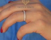 White Sapphire Half Eternity Womens Wedding Band Made in Solid Real 14K White Gold Available in Rose Gold and Yellow Gold by Facets Karats