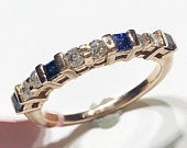0.48 ct tw Natural Princess Blue Sapphire Diamond Solid Gold Stackable Band Ring Wedding Anniversary 14k 18k White Yellow Rose Gold