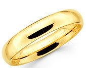 14K Solid Yellow Gold 4mm Plain Wedding Band Ring