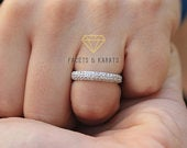 Micro Pav Wedding Band for Women Anniversary Ring for Her 14K Solid White Gold available in Yellow Gold and Rose Gold by Facets and Karats