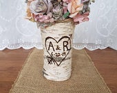 Personalized wedding gift Personalized gift Engagement gift Unique wedding gift Fall wedding Wife gift Rustic bridal shower Birch vase