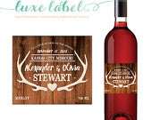 Custom Wedding Wine Label Custom Wine Label Wedding Wine Bottle Label Favor Gift Centerpiece Rustic Antlers Deer Country
