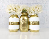 White and Gold Mason Jars/ Wedding Center Pieces/Wedding Decor/Shabby Chic Decor/Engagement Decor/Mason Jar Decor/Striped Mason Jars