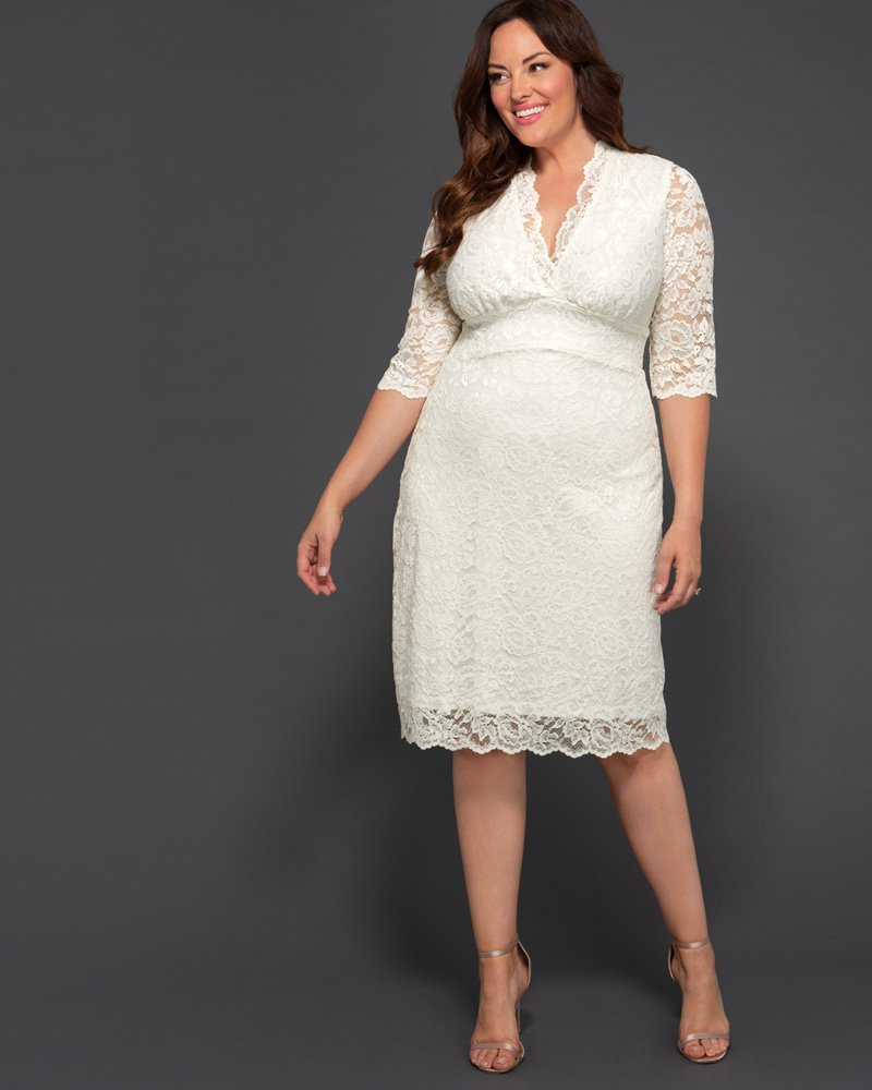 Kiyonna Womens Plus Size Luxe Lace Wedding Dress