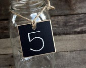Set of 4 Chalkboard Tags for Mason Jars With Twine Place Cards Table Markers 2.5 x 2.5 Square Distressed Edges