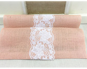 Peach Blush Burlap Lace Table Runner with White or Ivory Lace Wedding runner Home decorating