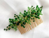 Wedding hair comb Bridal Floral Hair comb Wedding hair accessories Wedding headpiece Vintage style Hair comb green emerald leaves headpiece