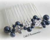 Navy Blue White Gold Hair Comb Bridal Headpiece Wedding Hair Accessories Swarovski Pearl Comb Bridesmaid Hair Fascinator Bridal Wedding Comb