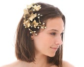 Gold Leaf and Pinecone Hair Comb, Wedding Hair Accessory Fall Wedding Clip, Golden Bridal Headpiece