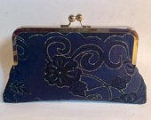 Bridal Clutch Navy with Silver/Black Clutch for Bridesmaids Mother of the Bride Holiday