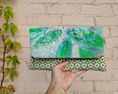 hand painted bag, original painting, foldover clutch, wedding party gift, bridesmaid gift, gift for her