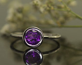 Bezel Set Amethyst Ring in White Gold, 0.75ct Round Cut, Fashion Ring, Open Profile and Stackable, Emerson A