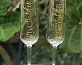 Tall Champagne Flutes, Champagne Glass, Bridesmaid Gift, Personalized Gift, Custom order, Gold Flute, Wedding Gifts, Wedding Favors