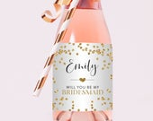 Mini Champagne and Full Size Bridesmaid and Maid of Honor Label Favors