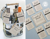 INSTANT DOWNLOAD A Year of Firsts Milestone Wine Basket Classic Black Cursive Tags for 6 Bottle Basket Wedding Gift, Bridal Shower Gift