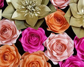 6 Paper Roses leaf set Giant paper flowers, Any color