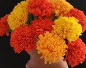 Day of the Dead 12 Marigolds Crepe Paper Flowers, Dia de Los Muertos, Yellow, Orange, Mexican Flowers, Wedding, Cinco de Mayo, Halloween