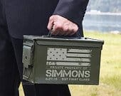 American Heroes Personalized Ammo Box Can Army Gift, America, Patriotic Military Gifts for Retirement, Graduation, and Birthdays