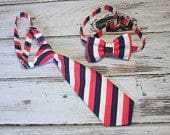 Red White and Blue (faded) Neck Tie or Bow Tie 4th (BowTie) for Baby, Infants, Toddlers, Youth, Boys, Men boys outfit wedding
