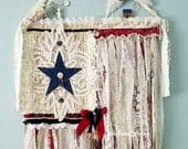 Tattered Rag Fabric Flag, American Flag, Shabby Chic, Farmhouse Style, 4th of July Decor, Tapestry Backdrop, Red White Blue, Wedding Prop