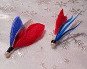 The OLYMPIC GAMES Collection.Fourth Tie Fly Feather Country Boutonniere Wedding Fish Accessory Red White Blue ButtonHole Flag July Pin Men