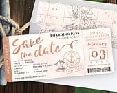 Destination Wedding Boarding Pass Save the Date Invitation in Rose Gold and Blush Watercolor Nautical Cruise Design by Luckyladypaper