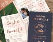 Destination Wedding Passport Invitation Set in Rose Gold and Blush Watercolor Tropical Design by Luckyladypaper see item details to order