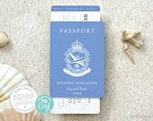 Passport style Printable Wedding Invitation and RSVP card (A6) Destination wedding INSTANT DOWNLOAD Editable Template