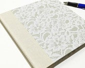 Wedding Guest Book with lined pages, Guestbook for special events, Ivory and gray, Pages at 8.5x8.5
