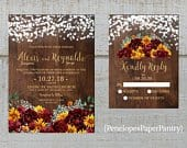Rustic Sunflower Fall Wedding Invitation,Sunflowers,Burgundy Roses,Fairy Lights,Barn Wood,Gold Print,Shimmery,Printed Invitation,Wedding Set