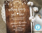 Elopement wedding invitation, Rustic wood and lights, wedding reception, Instant Download, Edit with Templett, A3077
