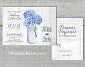 Rustic Blue Hydrangea Summer Wedding Invitation,Blue Hydrangeas,Mason Jar,White Barn Wood,Shabby Chic,Personalize,Printed Invitation