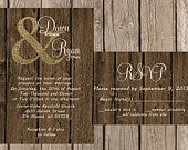 Rustic Wedding Invitation, Burlap Wedding Invitation, Vintage Wedding Invitation, Western Wedding Invitation, Wood Wedding Invitation,
