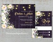 Rustic Purple Floral Summer Wedding Invitation,Pink,White,Lavender,Roses,Purple Barn Wood,Fairy Lights,Gold Print,Shimmer,Printed Invitation